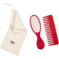 TEK Red purse oval brush and comb